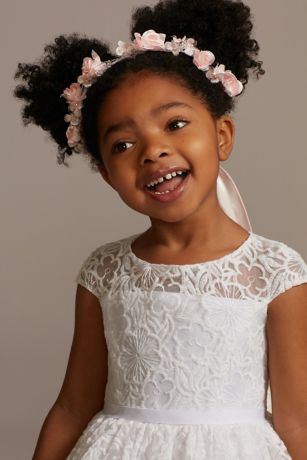 Floral and Pearl Embellished Flower Girl Wreath