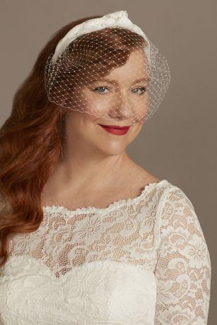 Gathered Fabric Headband with Tulle Blusher