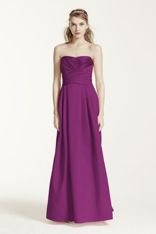 Strapless Satin Pleated Bodice Ball Gown