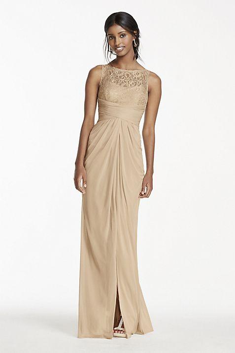 Sleeveless Mesh Metallic Dress with Corded Lace | David\'s Bridal
