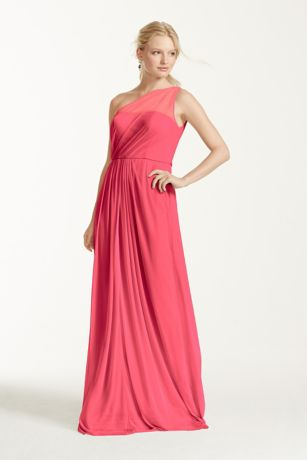 Long Mesh Dress with One Shoulder Neckline