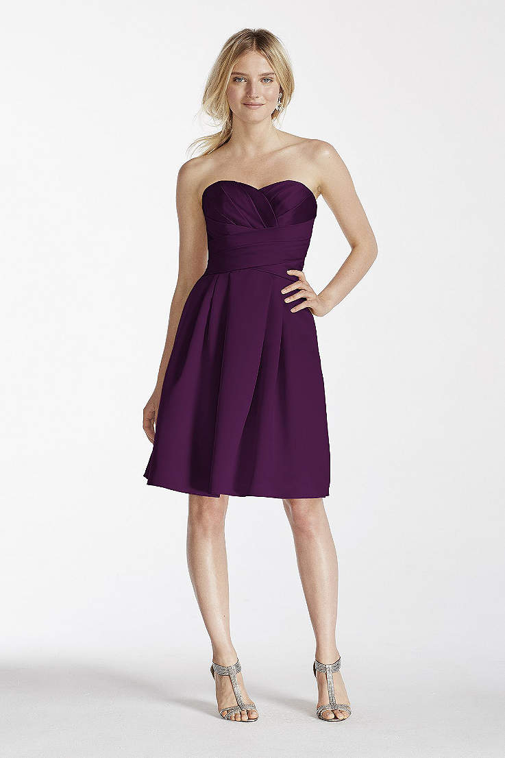 403ef2b055 Short Strapless Satin Dress with Pockets