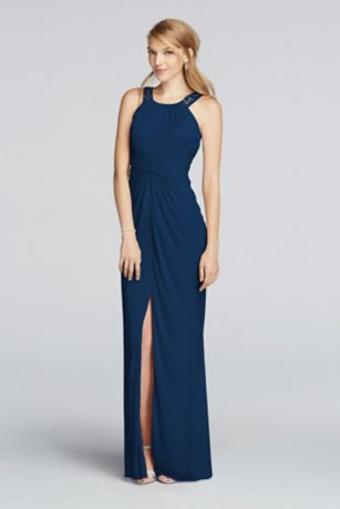 Long Beaded U Neck Mesh Dress with Ruched Waist