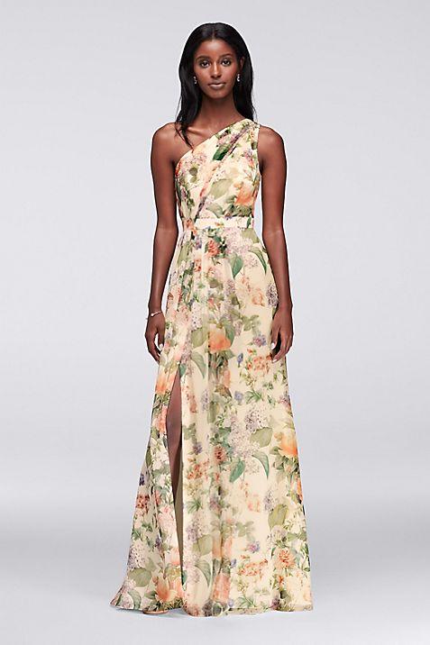 Long One Shoulder Printed Chiffon Dress | David\'s Bridal