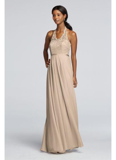Long Metallic Dress with Lace Halter Bodice   David\'s Bridal