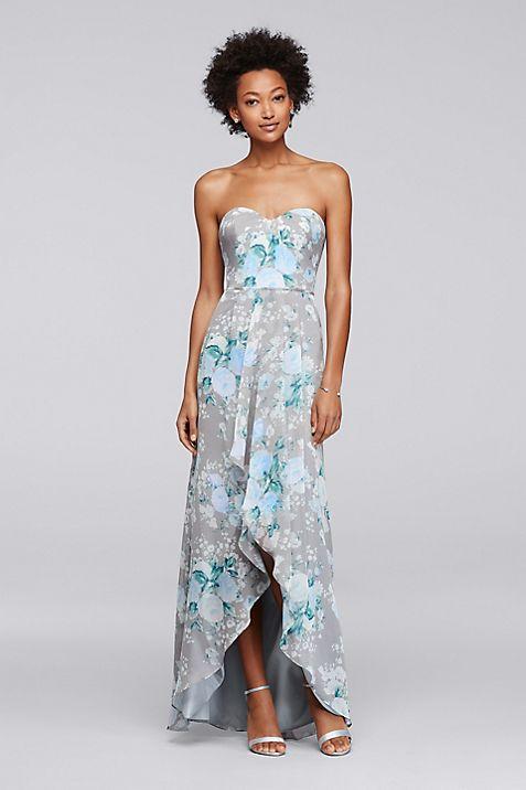 Long Floral Bridesmaid Dress with High-Low Hem | David\'s Bridal