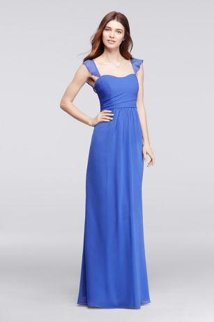 Long Bridesmaid Dress with Flutter Cap Sleeves
