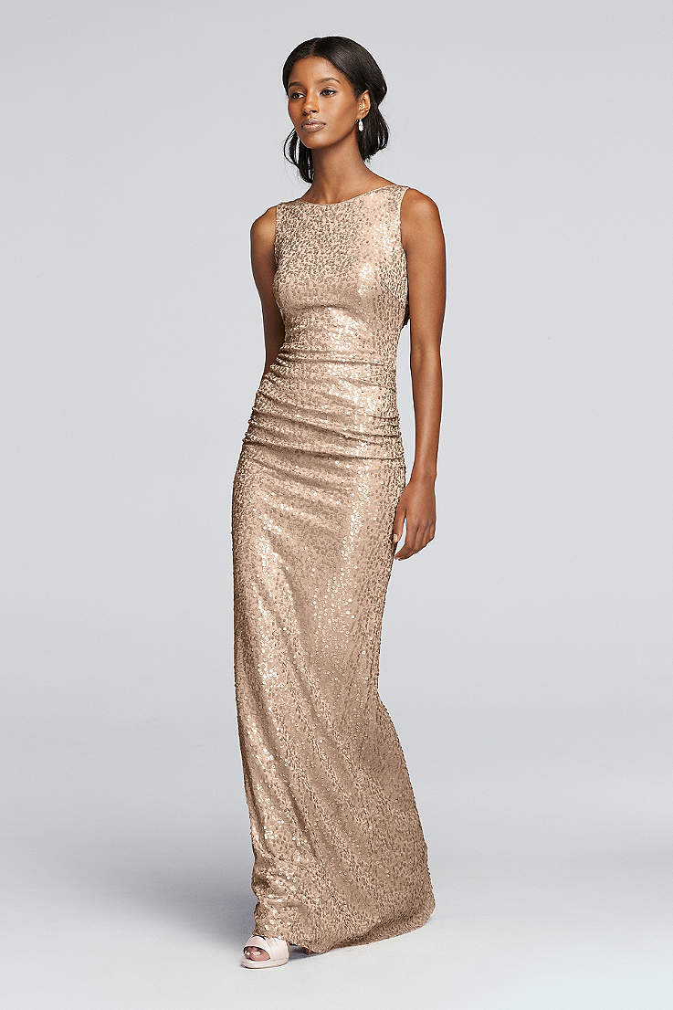 4e977237 Rose Gold Metallic & Sequin Bridesmaid Dresses | David's Bridal