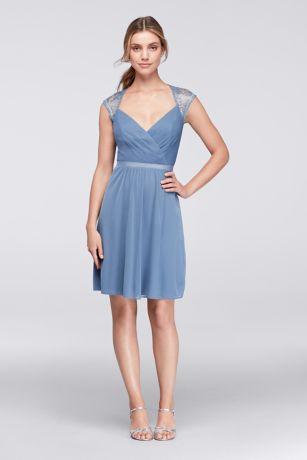 0fef1677ab Soft   Flowy Structured David s Bridal Short Bridesmaid Dress
