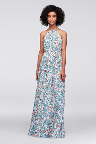 Printed Georgette Halter Bridesmaid Dress