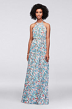 Halter Printed Georgette Bridesmaid Dress 4XLF19533P