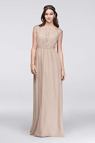 Chiffon Bridesmaid Dress With Metallic Lace Inset