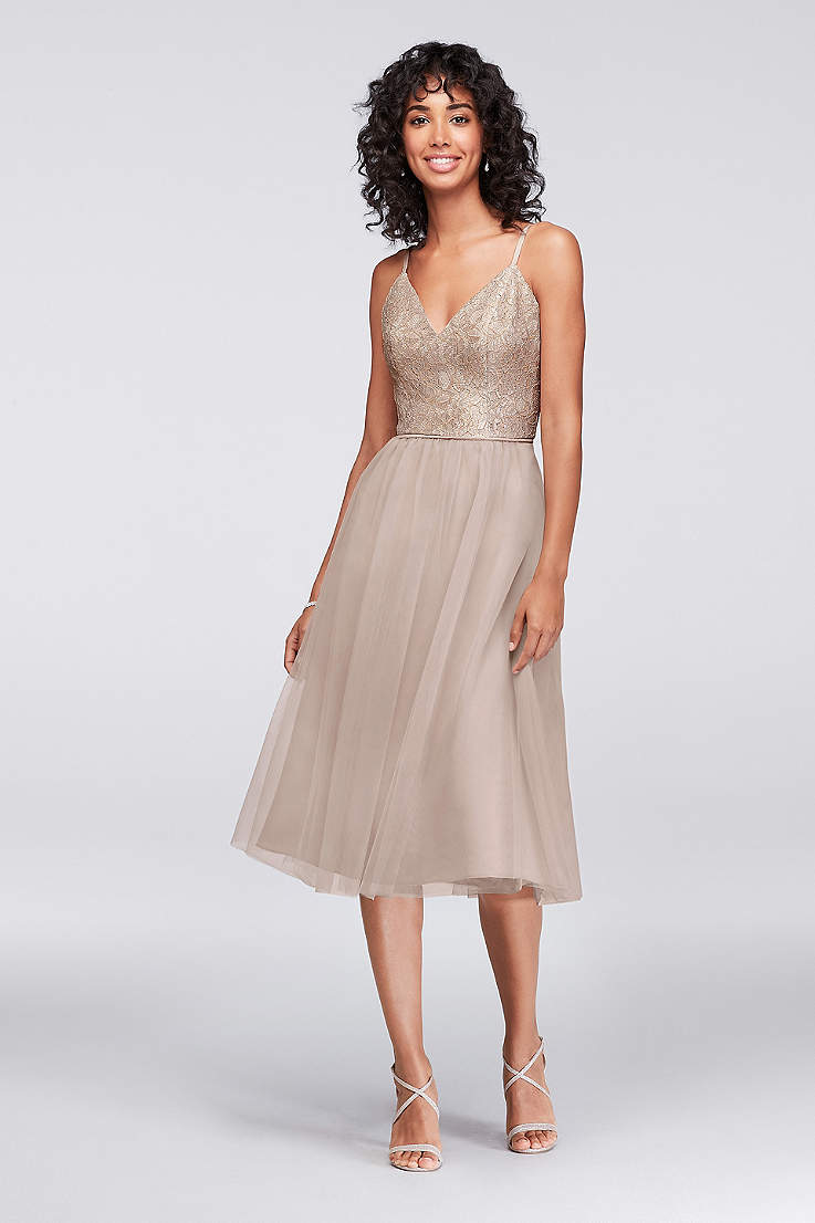 Soft   Flowy Structured David s Bridal Tea Length Bridesmaid Dress 08af7764578a