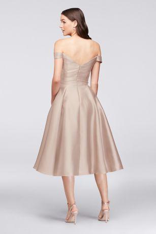 Off-the-Shoulder Tea-Length Bridesmaid Dress   David's Bridal