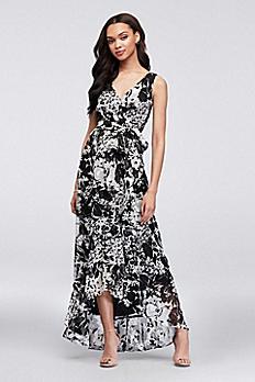 Printed Chiffon Faux-Wrap Bridesmaid Dress F19748P