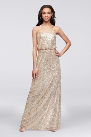 Allover Sequin Blouson Tank Bridesmaid Dress