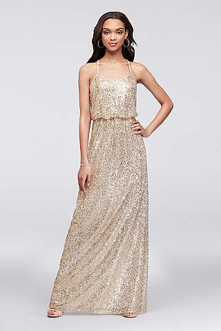 Gold, Silver and Metallic Formal and Wedding Guest Dresses | David\'s ...