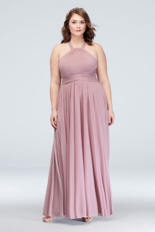 1c8ed69fbad87 Soft   Flowy David s Bridal Long Bridesmaid Dress · David s Bridal. High- Neck Mesh Bridesmaid Dress with Full Skirt
