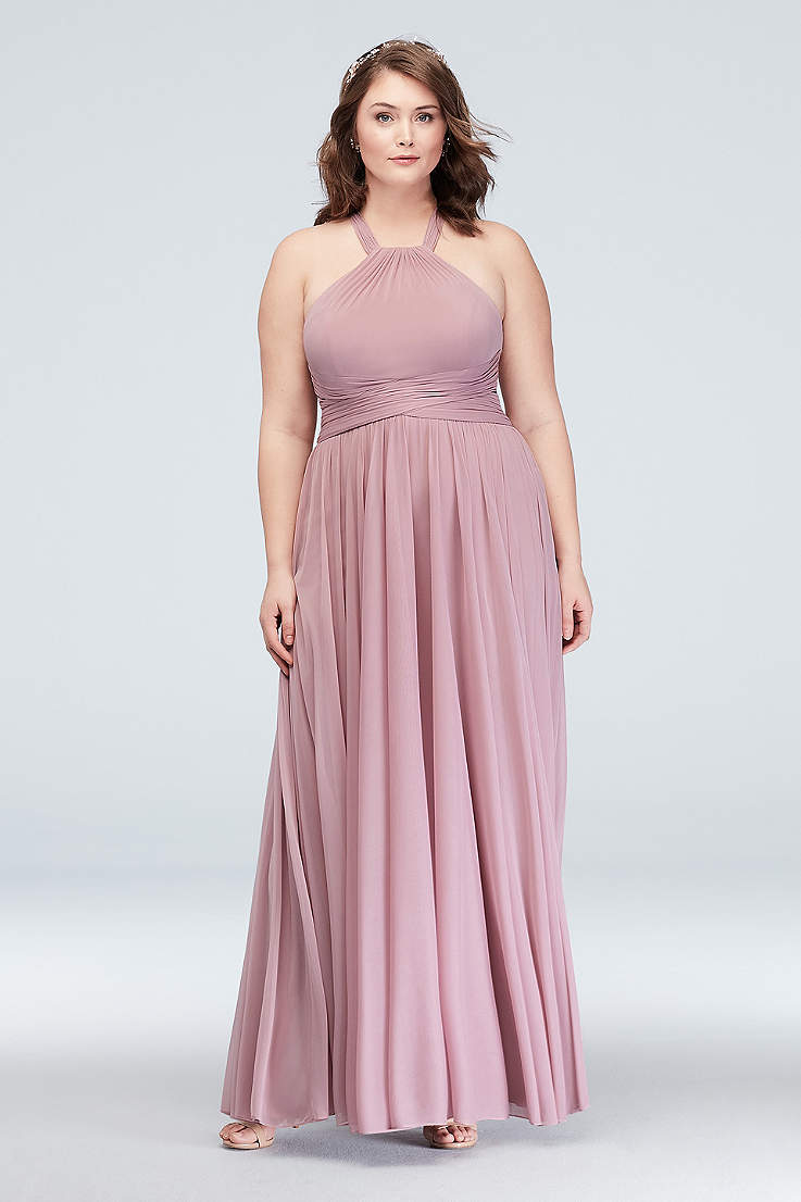 5b35fb8deb1 Soft   Flowy David s Bridal Long Bridesmaid Dress