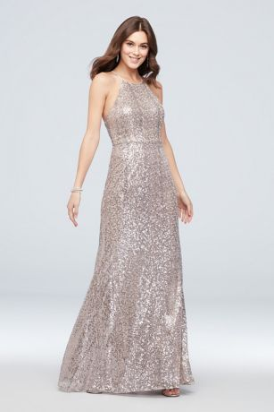 High-Neck Allover Sequin Bridesmaid Dress