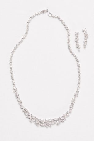 Cubic Zirconia Wave Necklace and Earrings Set