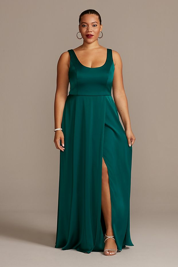 Crepe-Back Satin Scoop Tank Bridesmaid Dress