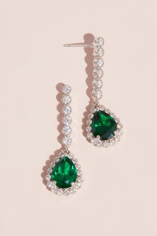 Gemstone Pear Drop Earrings