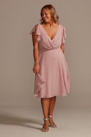Soft & Flowy David's Bridal Midi Bridesmaid Dress