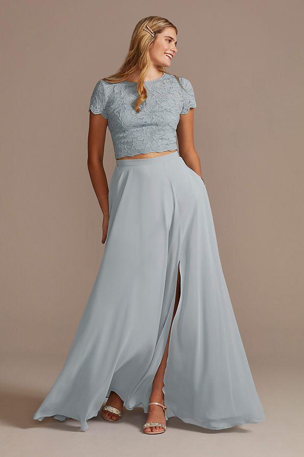 Bridesmaid Separates Chiffon Full Skirt with Slit