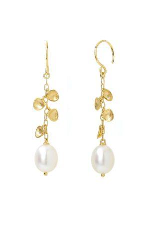 18k Gold and Freshwater Pearl Dangle Earrings