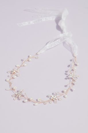Pearl and Crystal Florals Wiry Branch Head Piece