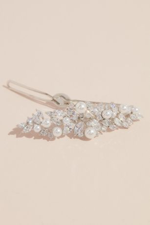 Leafy Cubic Zirconia and Pearl Hair Pin