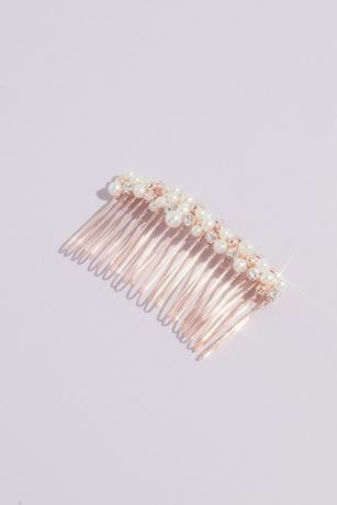 Pearl and Crystal Cluster Wire Comb