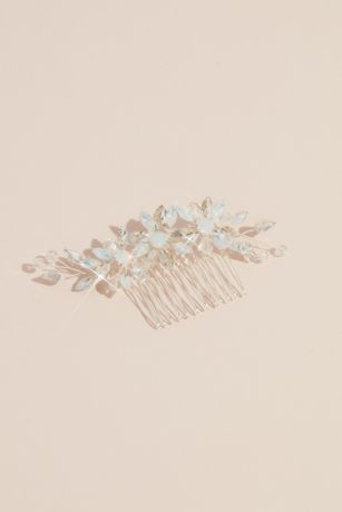 Crystal and Opal Flower Trio Comb