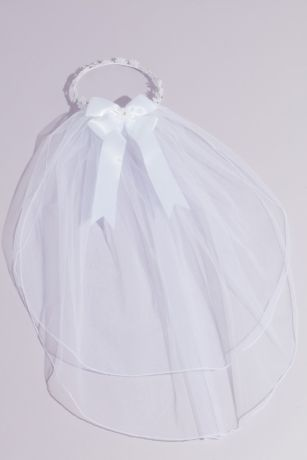 Daisy Chain Two Tier Communion Veil with Bow
