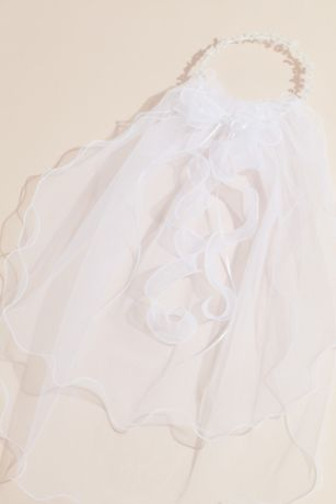 Curly Tulle Two Tier Communion Veil