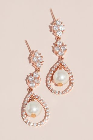 Crystal Cluster Earrings with Pave and Pearl Drop