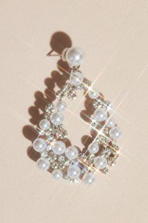 Pearl and Crystal Statement Teardrop Earrings
