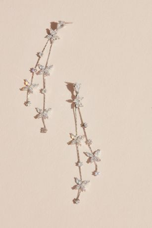 Cubic Zirconia Flower Garland Earrings