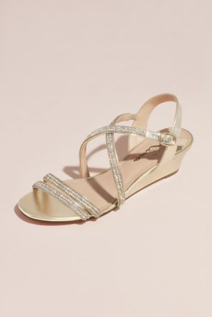 Touch of Nina Ivory Wedges (Crystal Crisscross Strap Low Wedge Sandals)