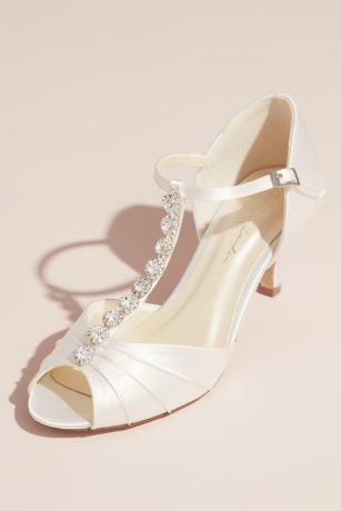 Pink Paradox White Pumps (Dyeable Satin Peep Toe T-Strap Heels with Crystals)