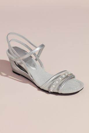 New York Transit Grey;White Wedges (Metallic Clear Vamp Wedges with Embellishments)