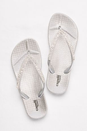 Capelli Grey;Pink Flip Flops (Molded Footbed Flip Flops with Bold Crystal Straps)