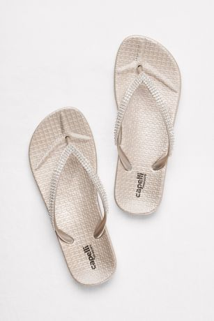 Molded Footbed Flip Flops with Tiny Crystal Straps
