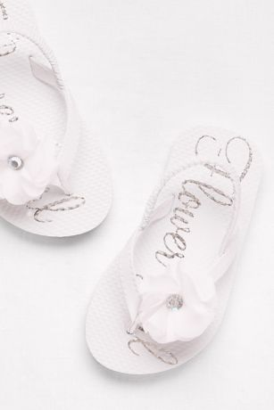David's Bridal White Flowergirl Shoes (Flower Girl Flip Flops)