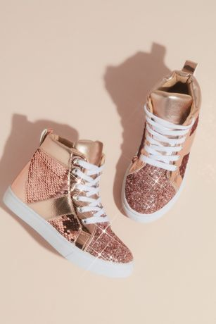 Capelli Pink Flowergirl Shoes (Girls Metallic Sequin Glitter High Top Sneakers)