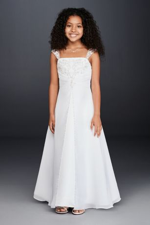 Long A-Line Cap Sleeves Dress - David's Bridal