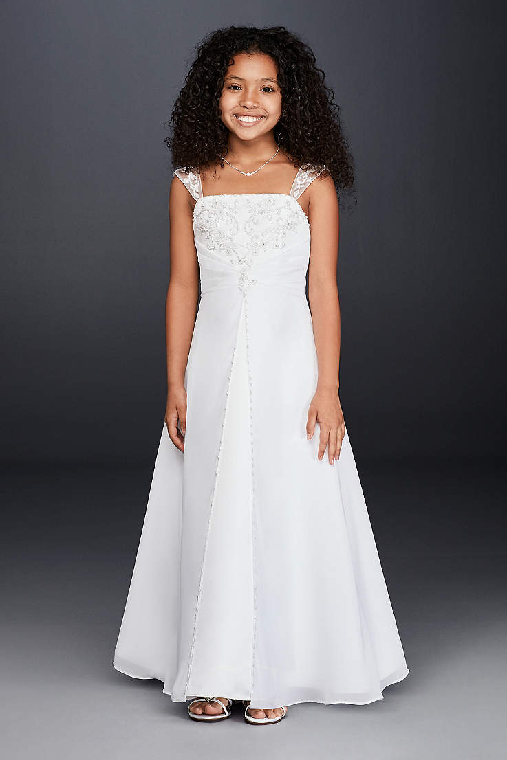 966d7a3a8be Long A-Line Cap Sleeves Dress - David s Bridal