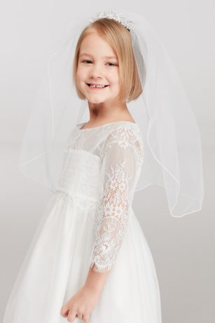 Flower Girl Mini Tiara Veil with Comb