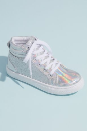 Capelli Grey Flowergirl Shoes (Girls High Top Glitter Metallic Sneakers)
